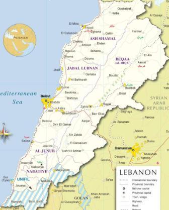 نقشه لبنان- برای مشاهده اندازه بزرگ روی آن کلیک کنید